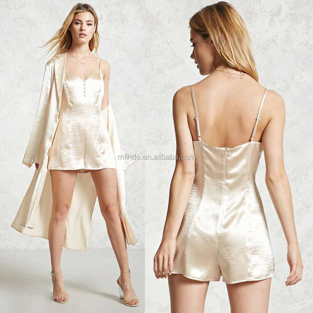 Fancy pants and shirts romper jumpsuits Women 100% polyester V Neck Satin Cami Romper
