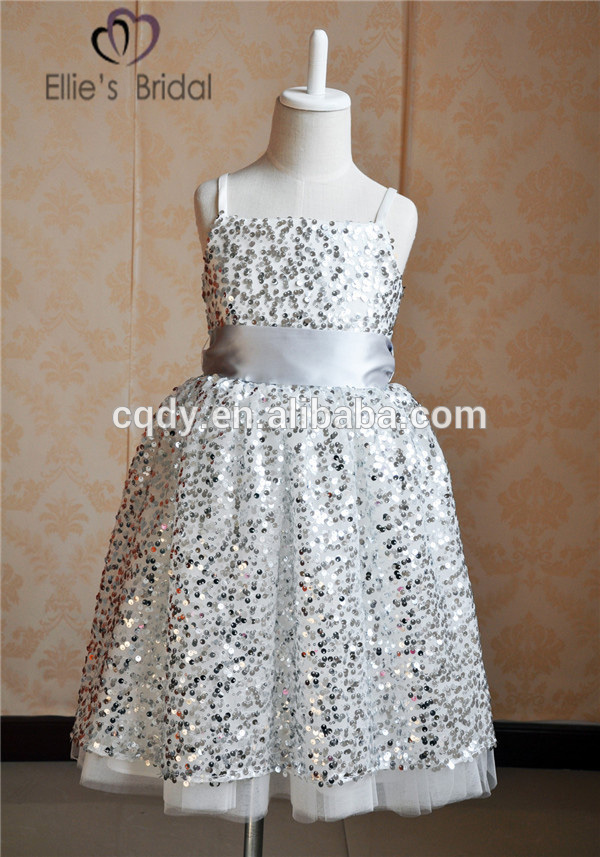 2015 Silver Bling Children Party Frock Kids Boutique