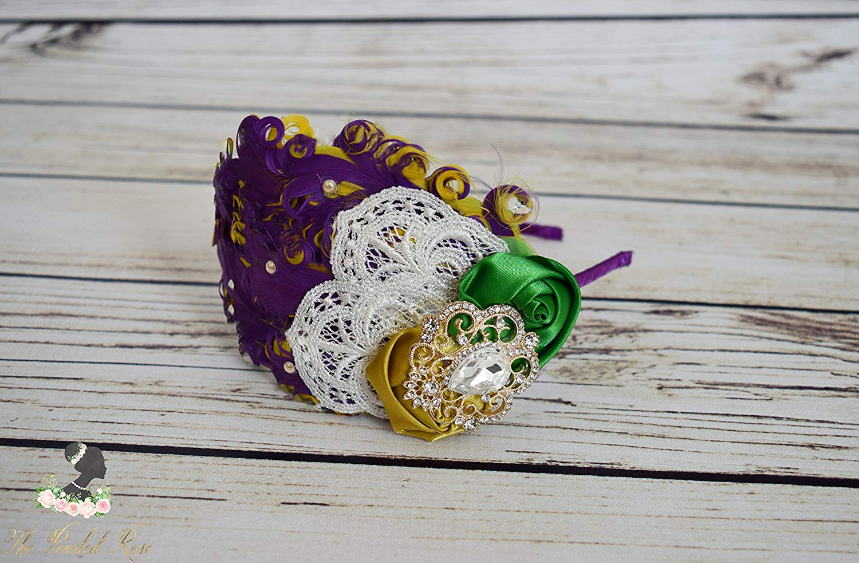 Handcrafted 1920s Inspired Mardi Gras Headband - Feather Headpiece - Green Golden Yellow Purple - Ivory Lace Mardi Gras Bow - Adult Headband
