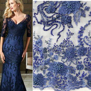 Fashion Heavy Beaded Lace Fabric Flower Embroidered French Evening Dress