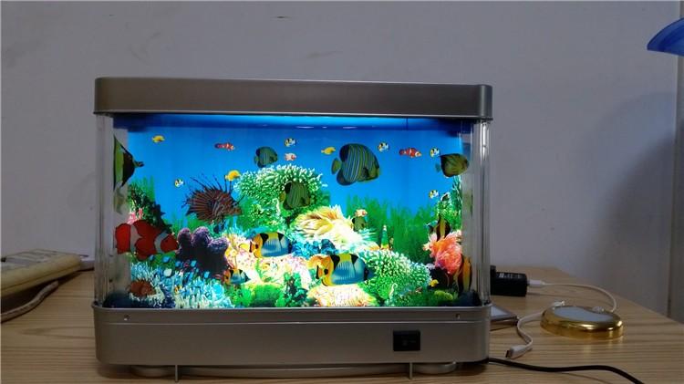 Led lighted fake fish aquarium with illusion of swimming for Fake artificial aquarium fish tank