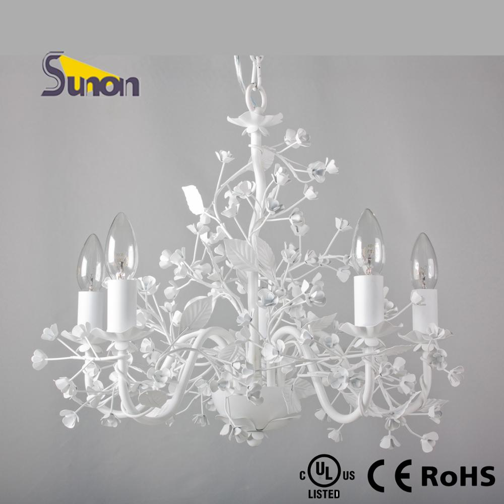 5 lights decorative hotel project home finish white metal flower 1 arubaitofo Images