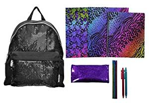 Skechers Twinkle Toes Black Sequin Backpack & ULTIMATE Back to School Set Includes Sparkly Jungle Folders, Spiral, Pencil Case, and More