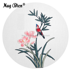 elegant spring comes flower with bird patch suitable for Cotton and linen