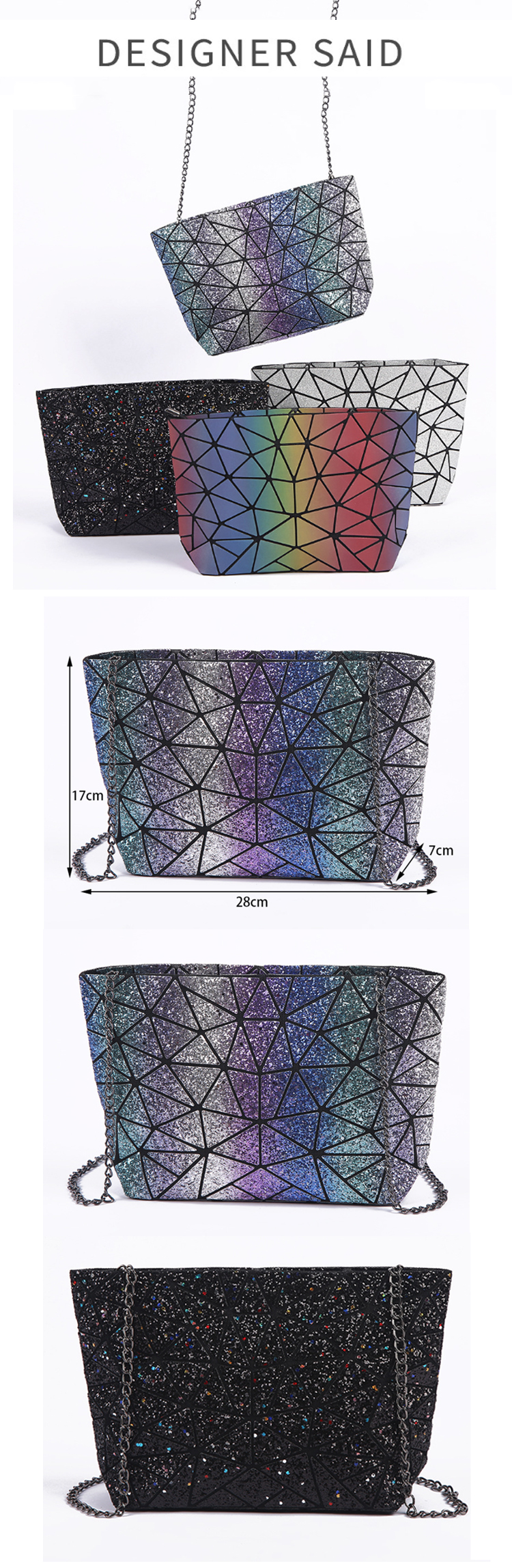 Osgoodway2  Fashion Sequin Satchel Sling Bag Laser Hologram Women Crossbody Chain Shoulder Bag