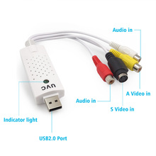 For Win 10 8 7 XP OS USB 2.0 Converter USB Audio Video Capture Grabber Adapter Supports NTSC/ PAL/ Video for internet conference