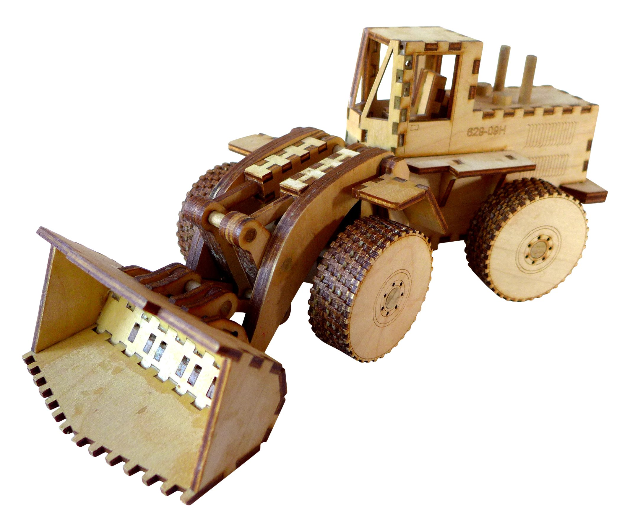 Heartwood Toys Laser Cut Wood Front End Loader Toy Kit, DIY, Build it Yourself