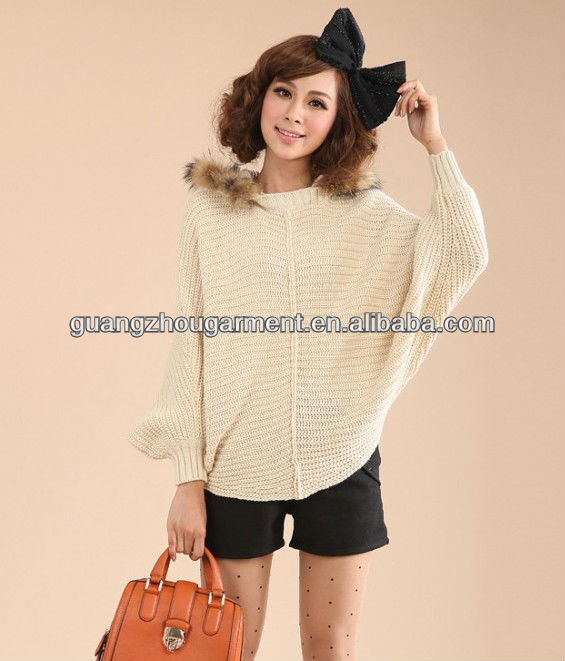 New hat zipper cardigan sweater leisure and easy bats