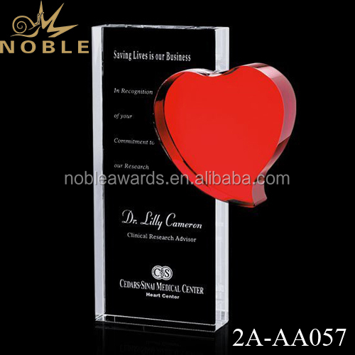 New Design Red Heart Shaped Crystal Trophy Award