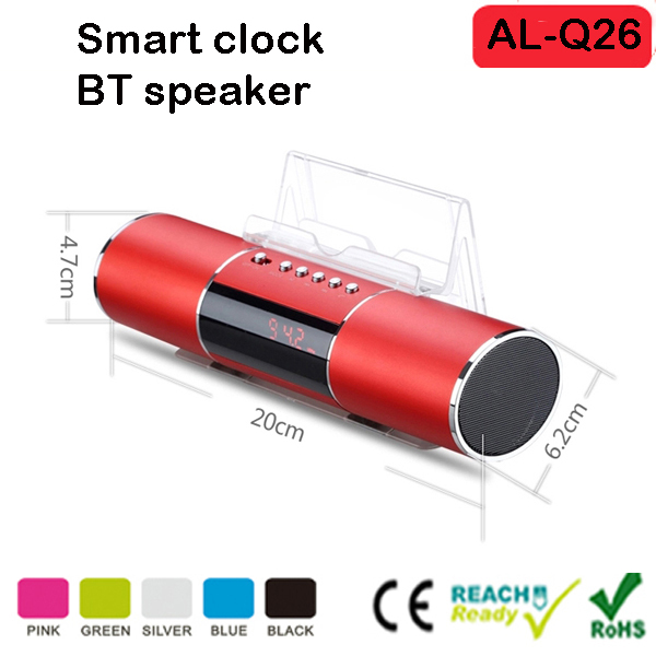 new products 2017 innovative product bluetooth speaker and alarm clock with LED Time Display FM Radio lazy stand