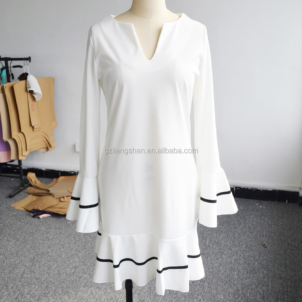 Wholesale Sexy Ruffles Women Dress Summer Long Sleeve Casual A Line Bodycon Dresses