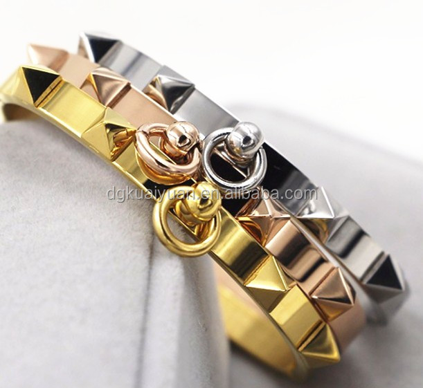 Stainless steel rivet bangles,rose gold plated Pyramid bracelet for women pulseiras Jewelry Circle Ring Wide Cuff Bracelet