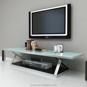 Modern home furniture silver 201 stainless steel mirror tv stand