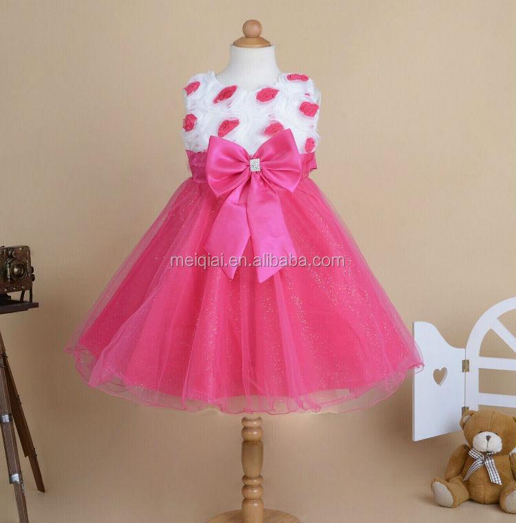 Vestidos más nuevos del arco para niños princesa hilado neto ...