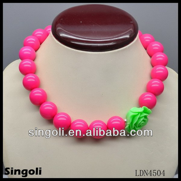 2014 accessory jewelry colorful beaded resin acrylic flower necklaces for children alibaba express made in china