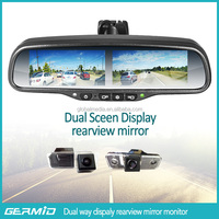 multiple rear view mirror with two 4.3 inch LCD display monitor and backup camera for truck
