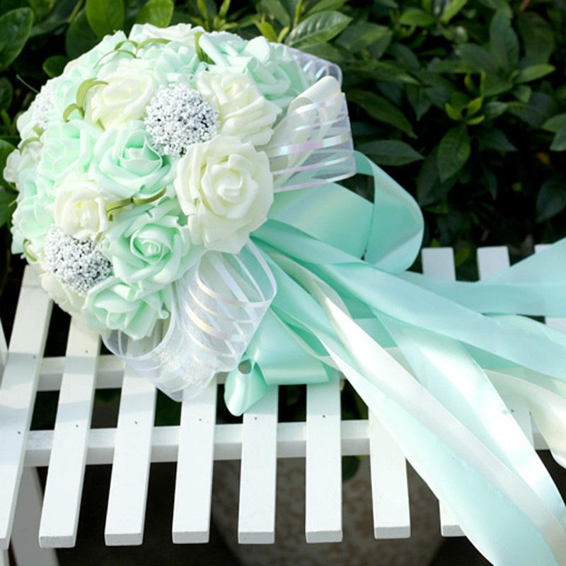 Mint Wedding Flowers: 5 Colors Mint Green Artificial Flowers Wedding Bridesmaid