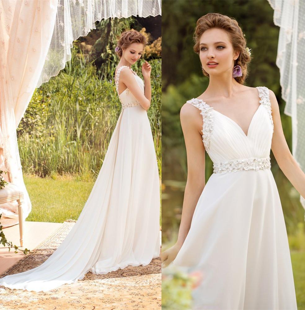 Robe De Mariage Cheap Beach Wedding Dress 2015 V Neck A