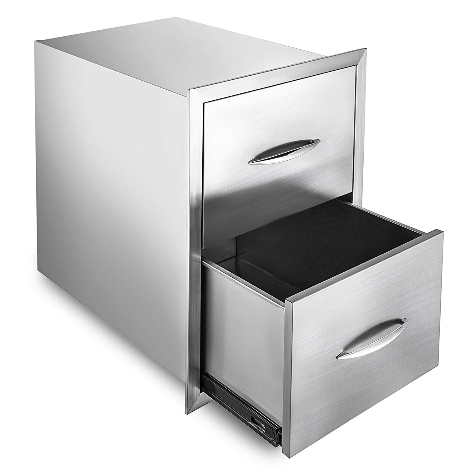 "Happybuy Outdoor kitchen drawer 18""x15"" Stainless steel BBQ Island Drawer storage with Chrome Handle Double Access Drawer Flush Mount Sliver Double Access Drawer (Outdoor kitchen Drawer 24""x18"")"