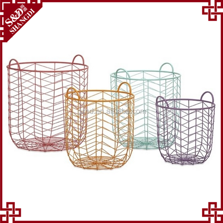 Eco-friendly custom colorful baking finish storage basket metal wire basket