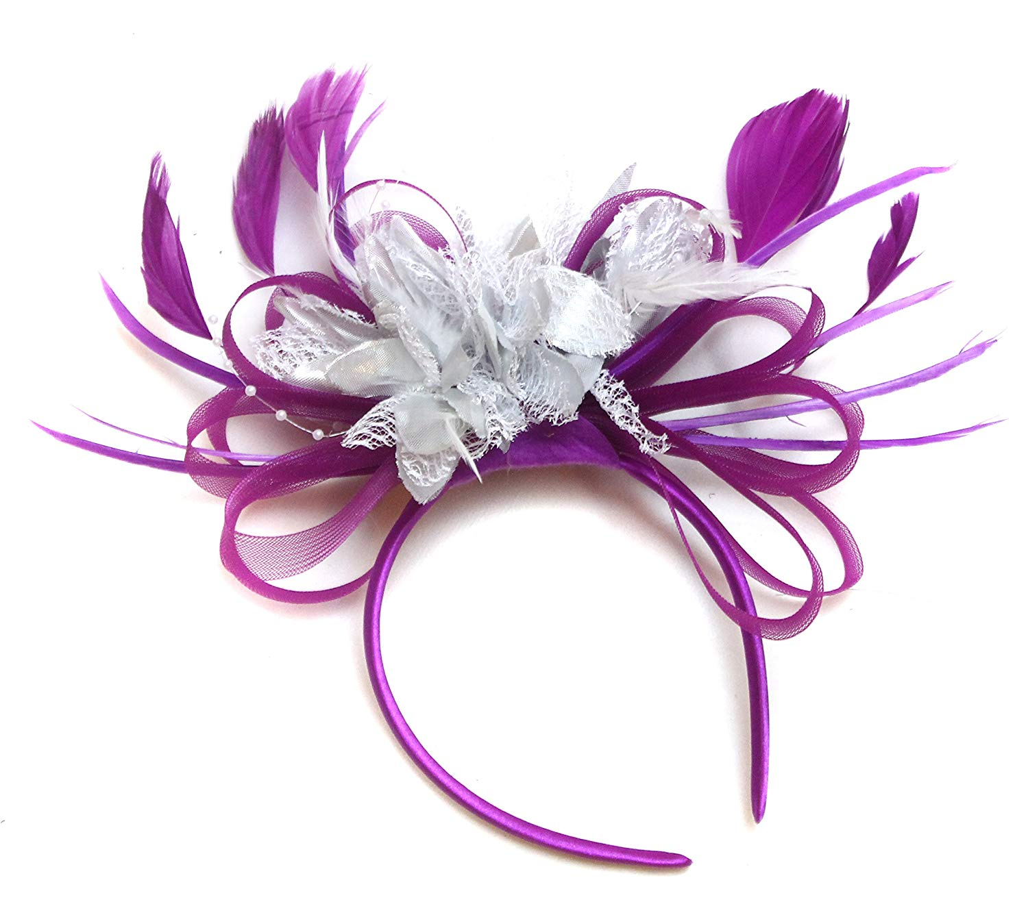 b7c25d9670a4f Get Quotations · Plum Magenta and Silver Feather Hair Fascinator Headband  Wedding Royal Ascot Races Ladies