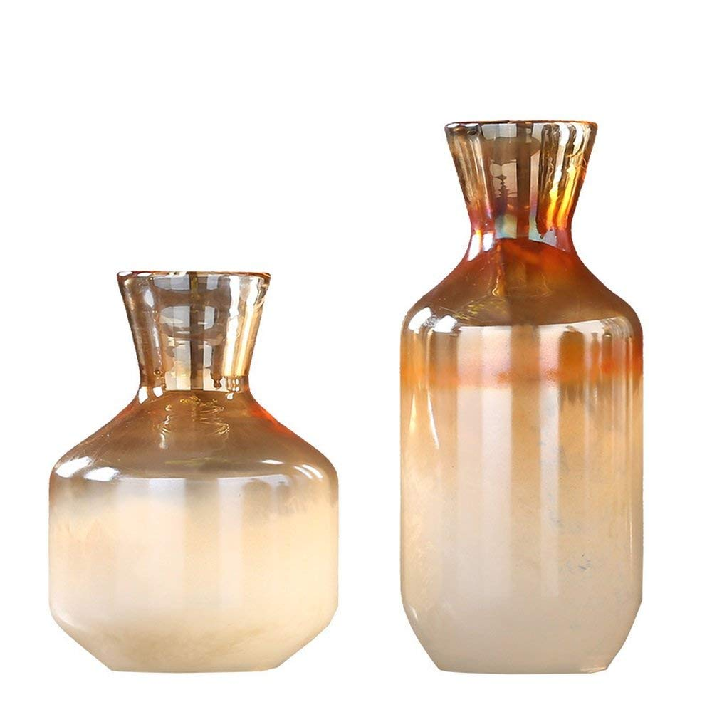 Bwlzsp American simple colored glass vase home living room TV cabinet water culture flower pattern room soft (without flower) LU714931 (Color : 2 PCS)
