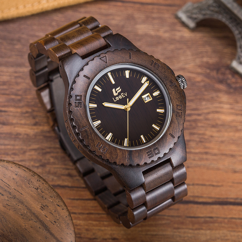 2017 Customer Favorite Japan Movement Quartz Wood Watch With <strong>Date</strong>, Multifunction Water Resistant Wooden Watch Manufacturers