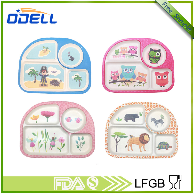 China Odell FDA 4 divided Rectangle Disposable bamboo fiber and melamine kids plate