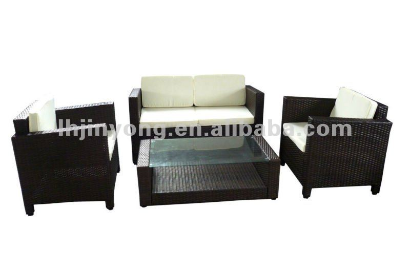 Hot seling garden high quantity outdoor rattan furnitures patio fashion rattan--1set= 1 table + 1 double chair + 2 single chairs