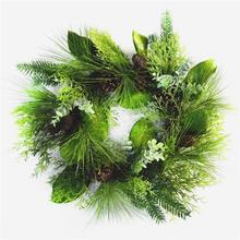 "22"" Outdoor Christmas pine wreath with pine needle, pine cone and flower"
