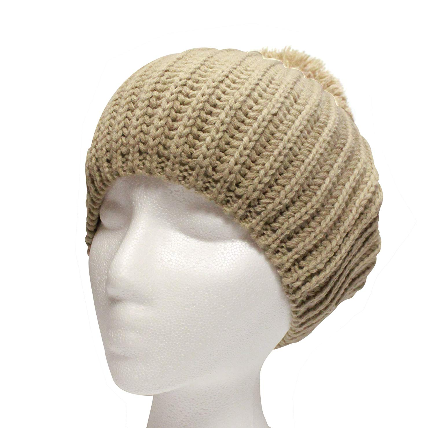 City Hunter Ck1090 Beret Solid Pom Pom Hat - Khaki