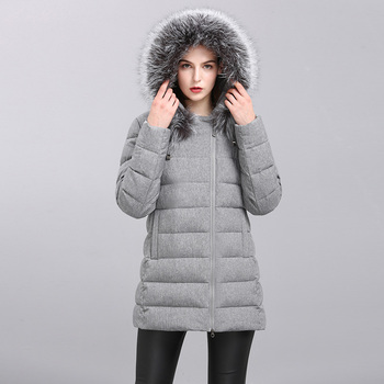 High quality real fur collar hooded gray short down winter women jacket