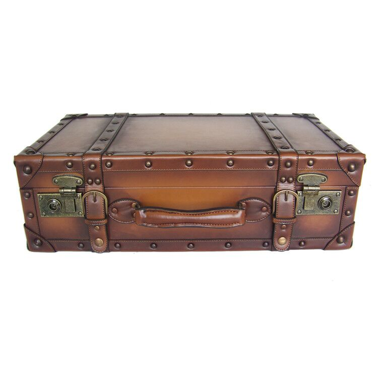 PU leather suitcase wood frame old fashioned vintage suitcase