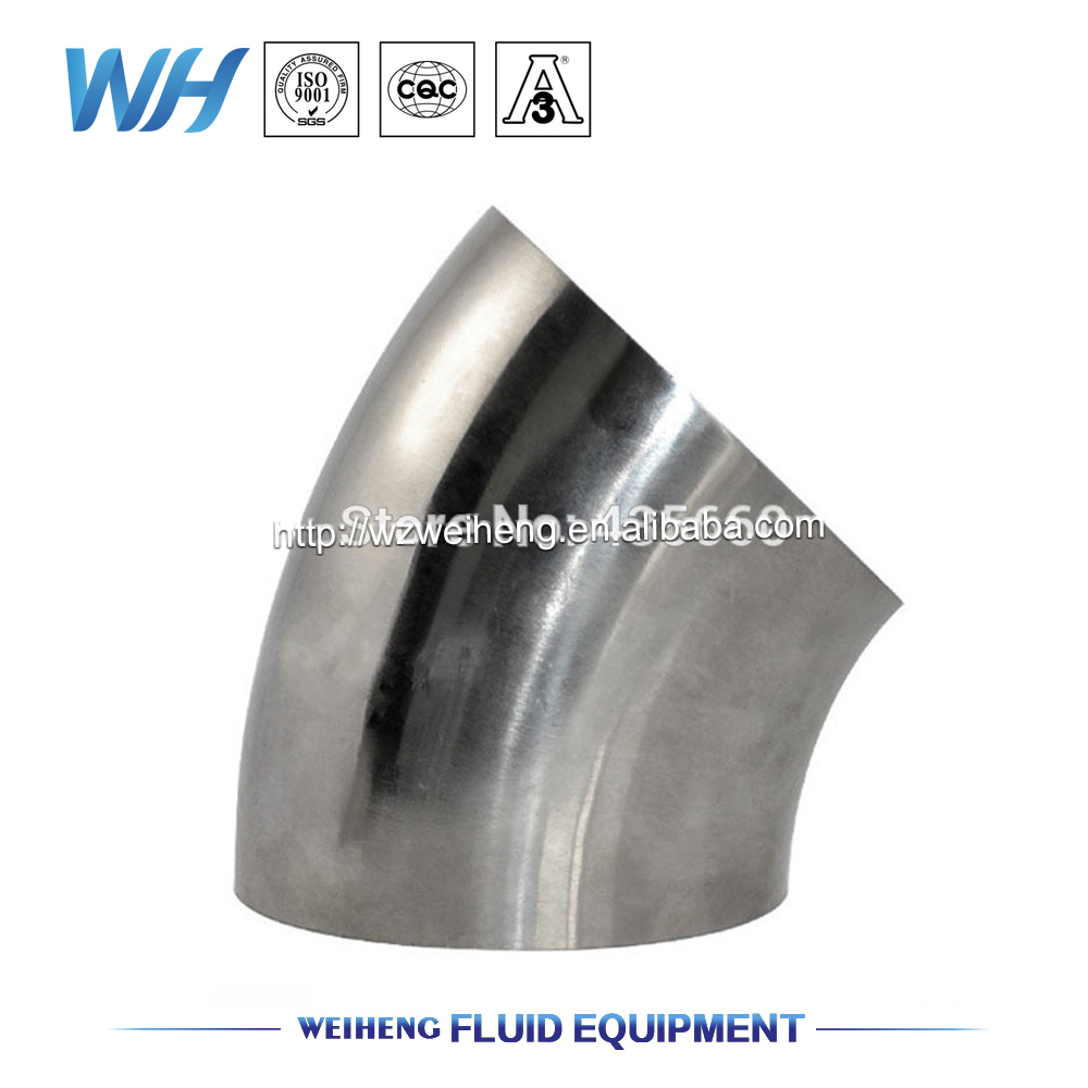3 inch OD:76mm SS304 Stainless Steel Tube Bend connector Weld 45 Degree Elbow, Sanitary Welding Fittings