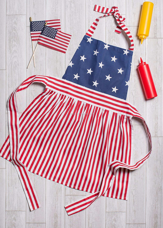 100% Katoen Vintage Amerikaanse Vlag Vrouwen Keuken Schort Rok Jurk Ontwerp Perfect voor Koken Schorten