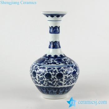 Rzfu02 Bamboo Joint Design Wide Curled Rim Blue And White Floral