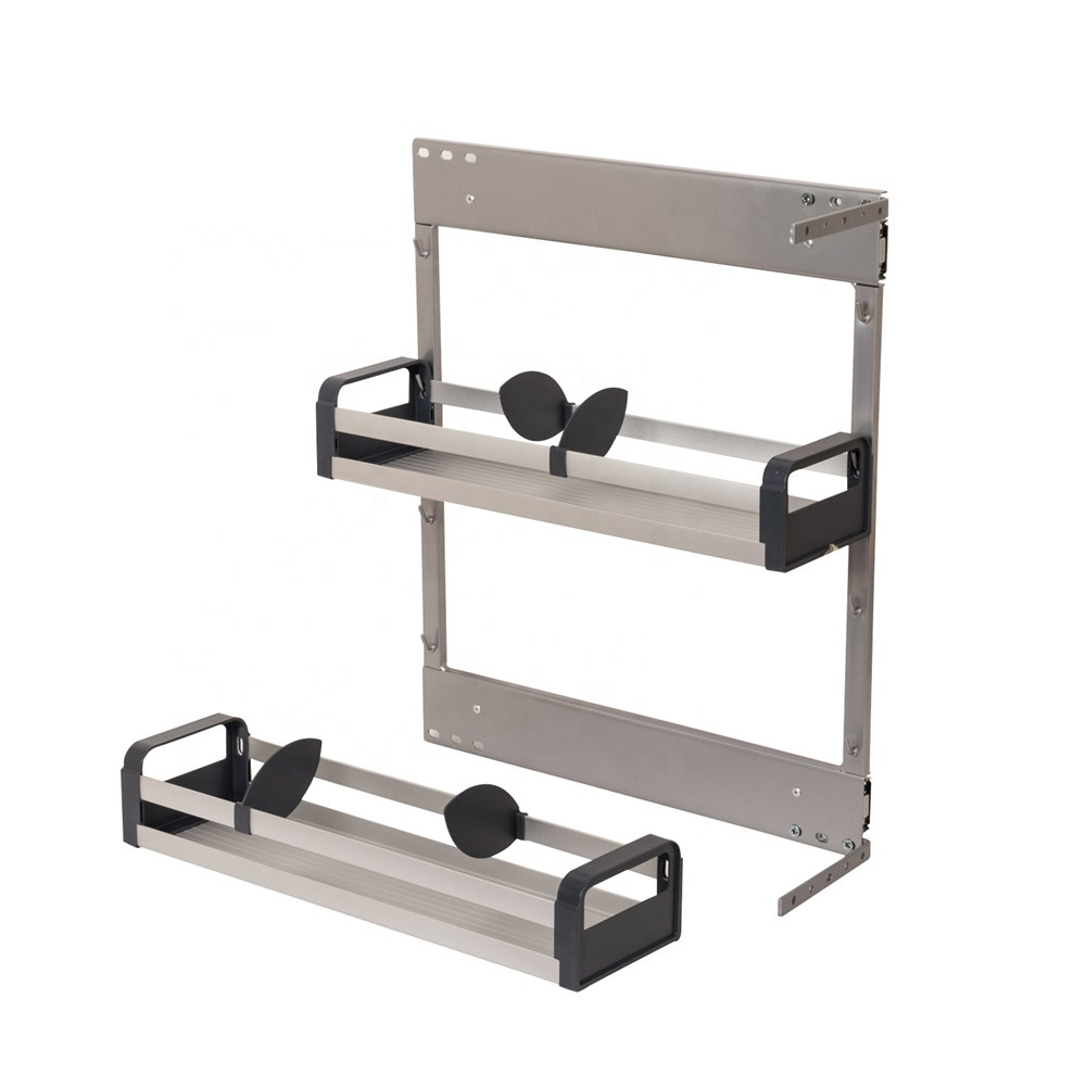 Multifunctionele side mount Dubbele Lagen plaat Metalen kast rvs trek Keuken Draad lade mand