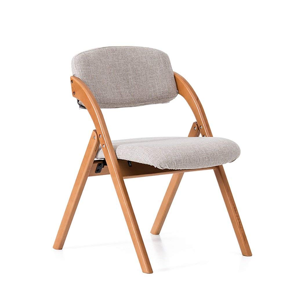fold up chairs Dining Chair Simple European-style cotton chair Creative folding leisure chair Solid wood folding chair can be washable Folding Chairs (Color : B)