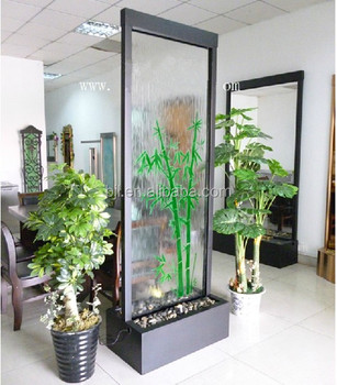 Indoor Wall Water Features Glass Waterfall Decorative Room Dividers ...