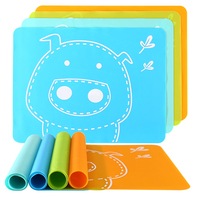 Amazon Top Seller 2019 Kitchen Utensils Food Grade Silicone Heat Resistant Non-Stick Chopping Board Cartoon Children Eating Mat