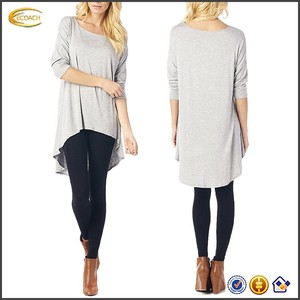 Ecoach OEM Wholesale Rayon Span High And Low Tunic 3/4 Sleeves Women Solid Blouse