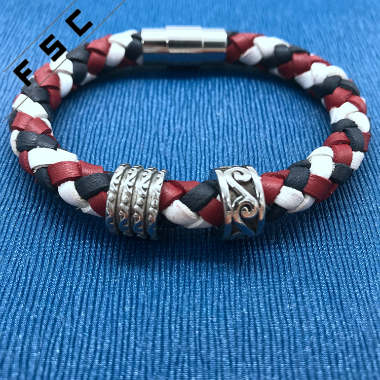 vogue unisex colored braided Genuine Leather charm stainless steel clasp bracelet