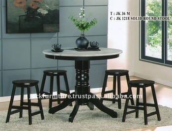 Marble Top Dining Round Table Wood Round Stools Dining