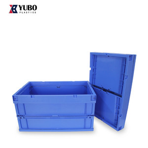 Plastic folding fruit crate circulation container plastic fold flat basket