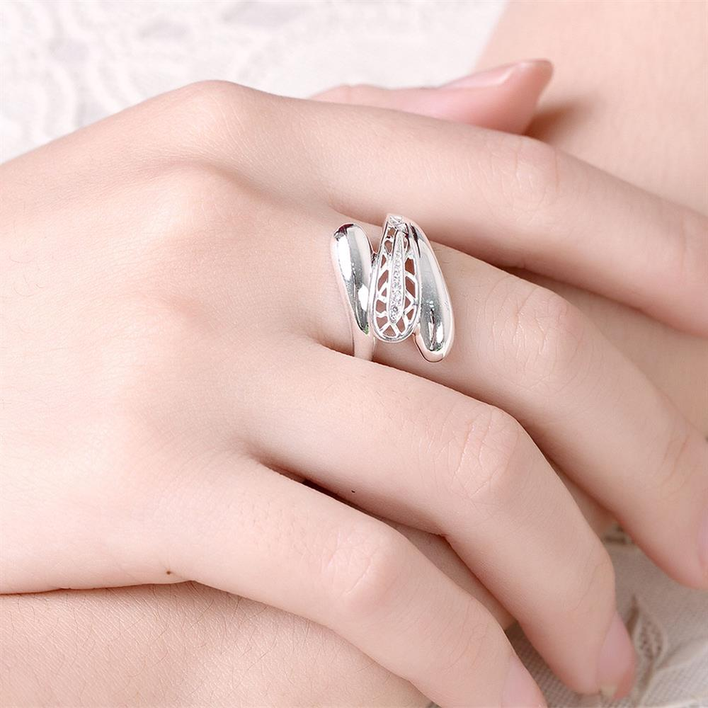 Real 925 Sterling Silver Sapphire Ring White Wedding Engagement ...