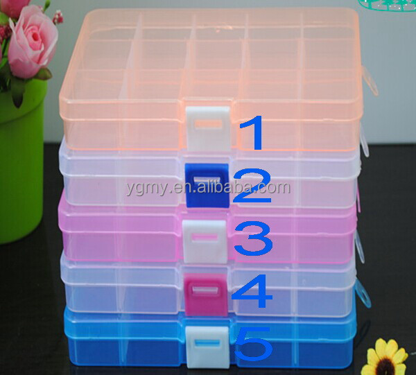 Adjustable 15 Compartment Plastic Clear Storage Box For Jewelry Earring Tool Container