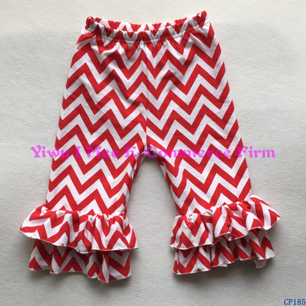 Yiwu Factory Wholesale Icing Legging Latest Girls Red Chevron Icing Ruffled Capris Pants