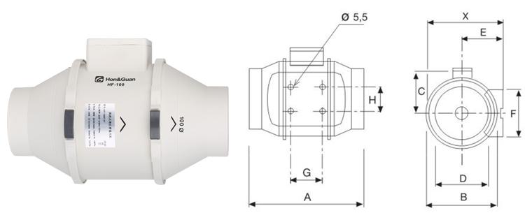 75MM 2 Speed Inline Exhaust Fans For Bathroom Exhaust Ventilating