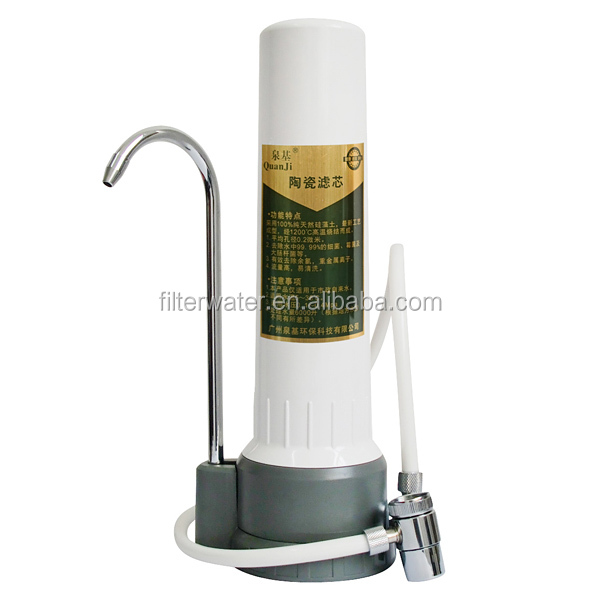 home water filter single stage countertop ceramic alkaline water filter pH 7.85