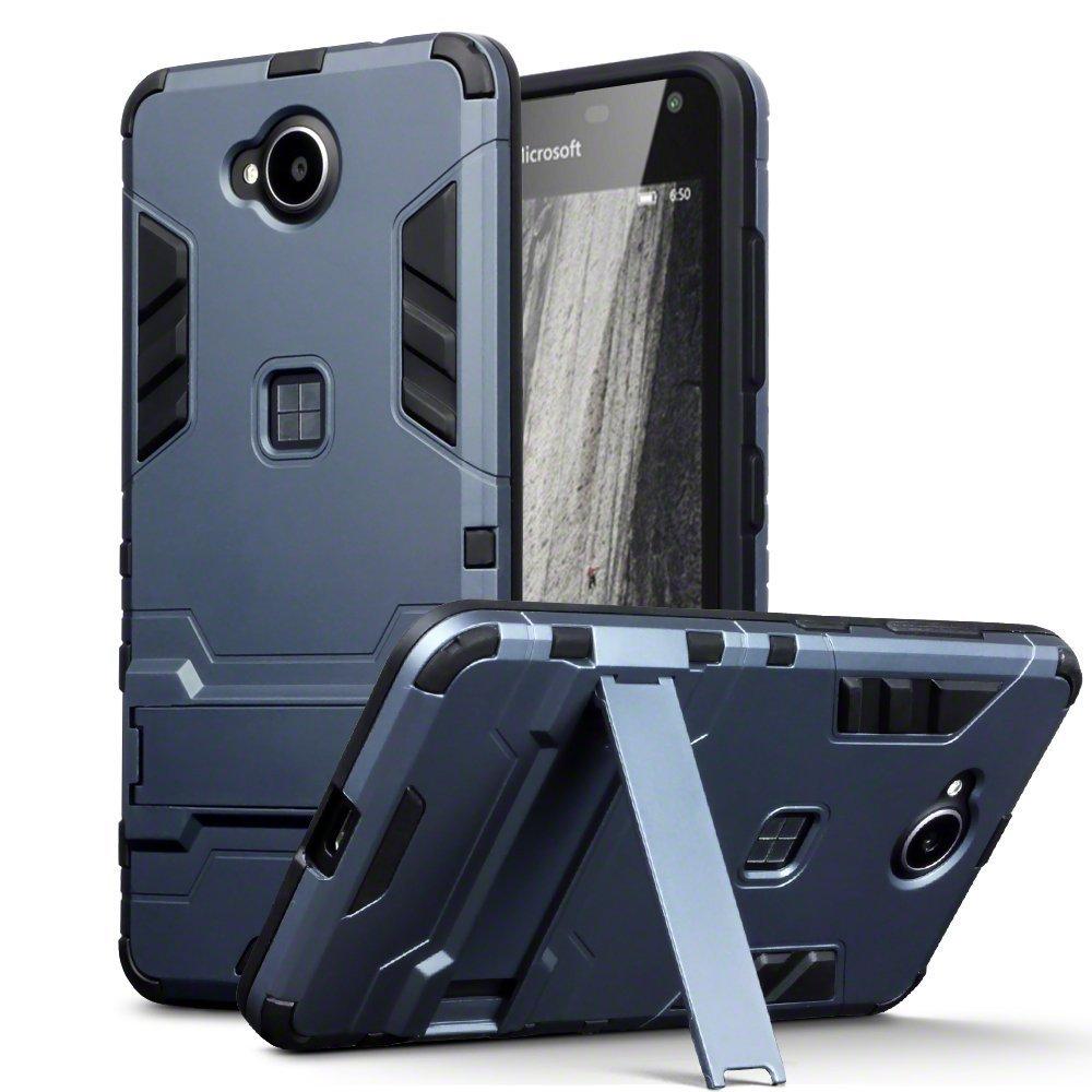 Lumia 650 Case - Terrapin Microsoft Lumia 650 Cover - Full Body Shock Resistant Armor Case - High-Tech Look - Dual Layer - Kickstand - Dark Blue